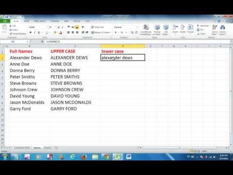 Excel 2010 Tutorial: How to change the case into upper and lower case.