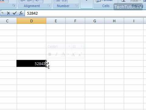 Use the Mini Toolbar in Excel 2007