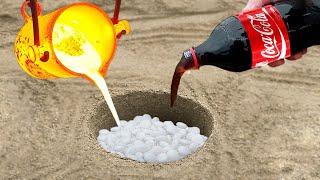 Experiment: Coca Cola vs Mentos vs Lava Undergraund
