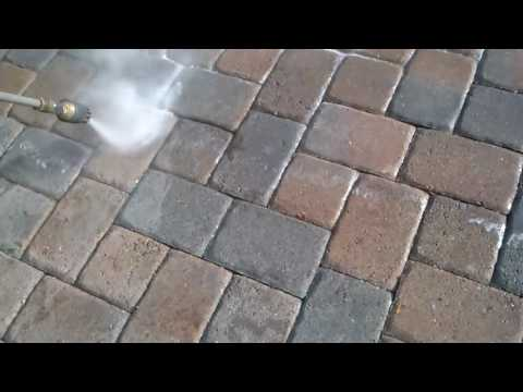 The process of how to strip off failed sealer from brick pavers to return back to mint condition