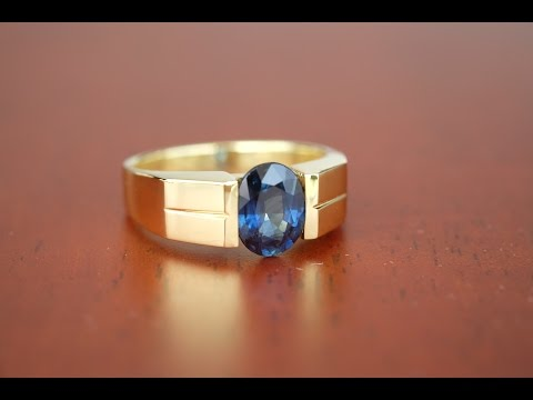 bkgjewelry.com | Ordered 18K Yellow Gold Blue Sapphire Ring [RS0054]