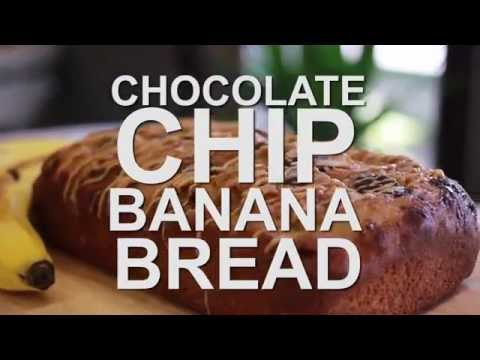 How to Make Healthy Chocolate Chip Banana Bread with Peanut Butter Drizzle