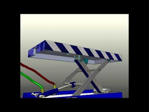 Small Hydraulic Scissor Lift Animation (solidworks)