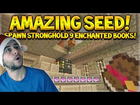 Minecraft Xbox 360/PS3 - Open Stronghold At Spawn W/ 9 Enchanted Books!!