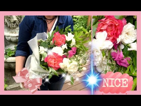 DIY ~ How To Arrange Gift Flowers From Your Yard Without A Vase~ Wrapped Flowers