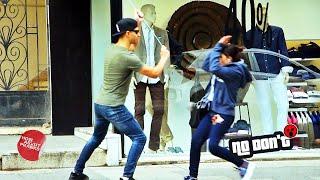 Blind Man Attacking People Prank