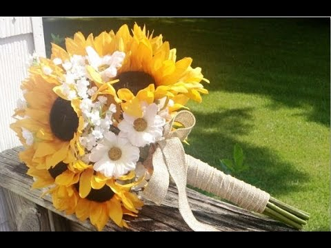 Sunflower And Burlap Wedding Bouquets