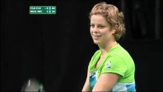 Kim Clijsters threatens to shove a ball down Caroline