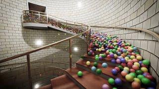 Balls on spiral stair - Blender Eevee - Rigid body simulation