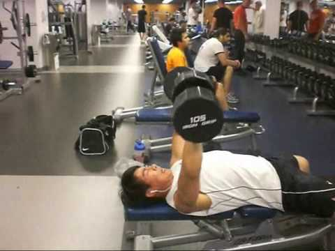 Dumbbell Bench Press - 100 LBs x 5, 105 LBs x 3, 110 LBs x 1 @ 156 Pounds Body Weight