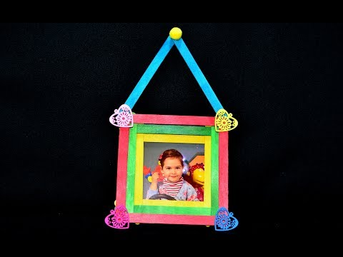 Photo frame art craft ice cream sticks popsicle diy tutorial maker ideas hacks gifts creation wall