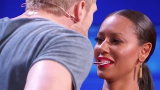 Sexy Magician Tries to Kiss Mel B Using His Tricks!