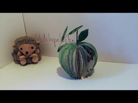 # Atelier DIY Pliage de livre - Pomme verte - Recycle an old book : Green apple #