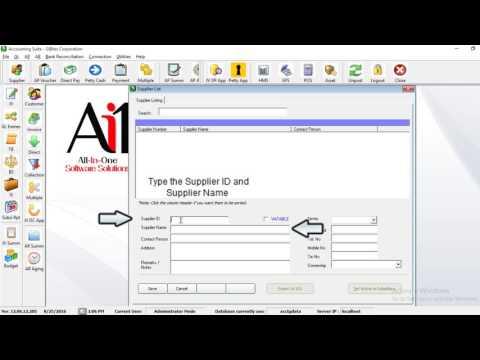 ADDING SUPPLIER LIST (Accounts Payable Module)