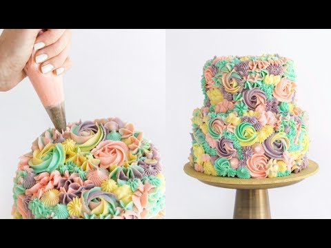 Pastel Rainbow Swirl Cake
