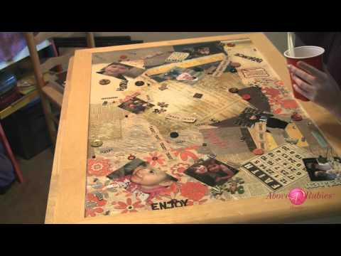DIY Refinished Table Top with Personalizations and Two Part Resin