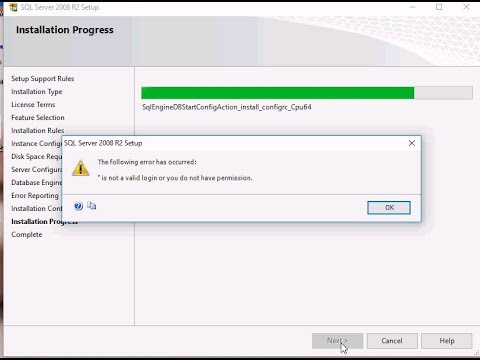 is not valid login or you do not have permission on sql 2008 intallation