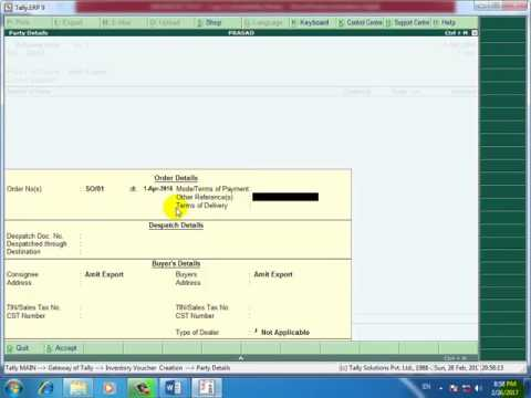 Tally.erp 9 in hindi sales order processing in hindi ( delivery Note rejection in )
