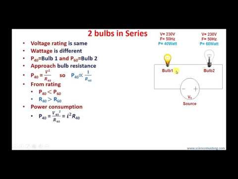 Which bulb will glow brighter 40W or 60W when in series/parallel? NetworkIPhysics IITJEE NEET(Hindi)