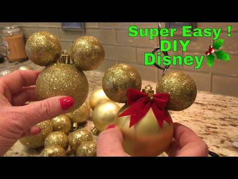Super Easy ! DIY Mickey and Mini Mouse Inspired Christmas Ornaments ! Dollar Tree !