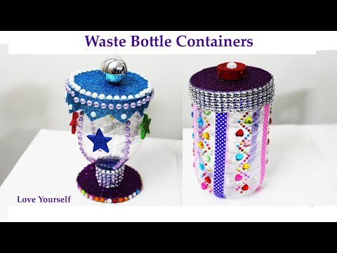 DIY waste bottle craft | Plastic bottle container | waste recycling