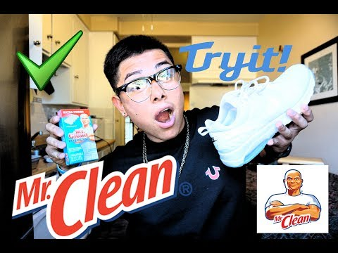 HOW TO CLEAN YOUR WHITE SHOES WITH MR.CLEANS MAGIC ERASER!!!!!! 100% WORKS!!!!!!!
