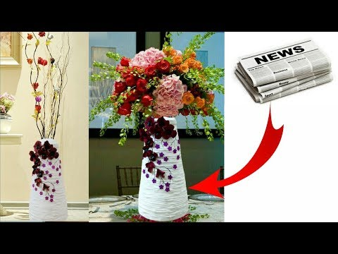 How to make flower vase with newspaper | newspaper flower pot | flower vase making | easy craft idea