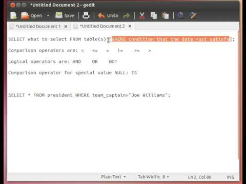 MySQL Tutorial from Terminal 10/27: The SELECT Statement/Query/Command