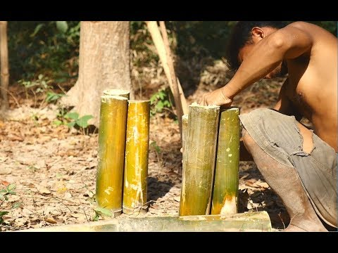 Primitive Technology, Make bamboo as bottle for take water from the river