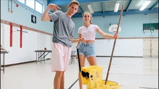 cleaning an abandoned school