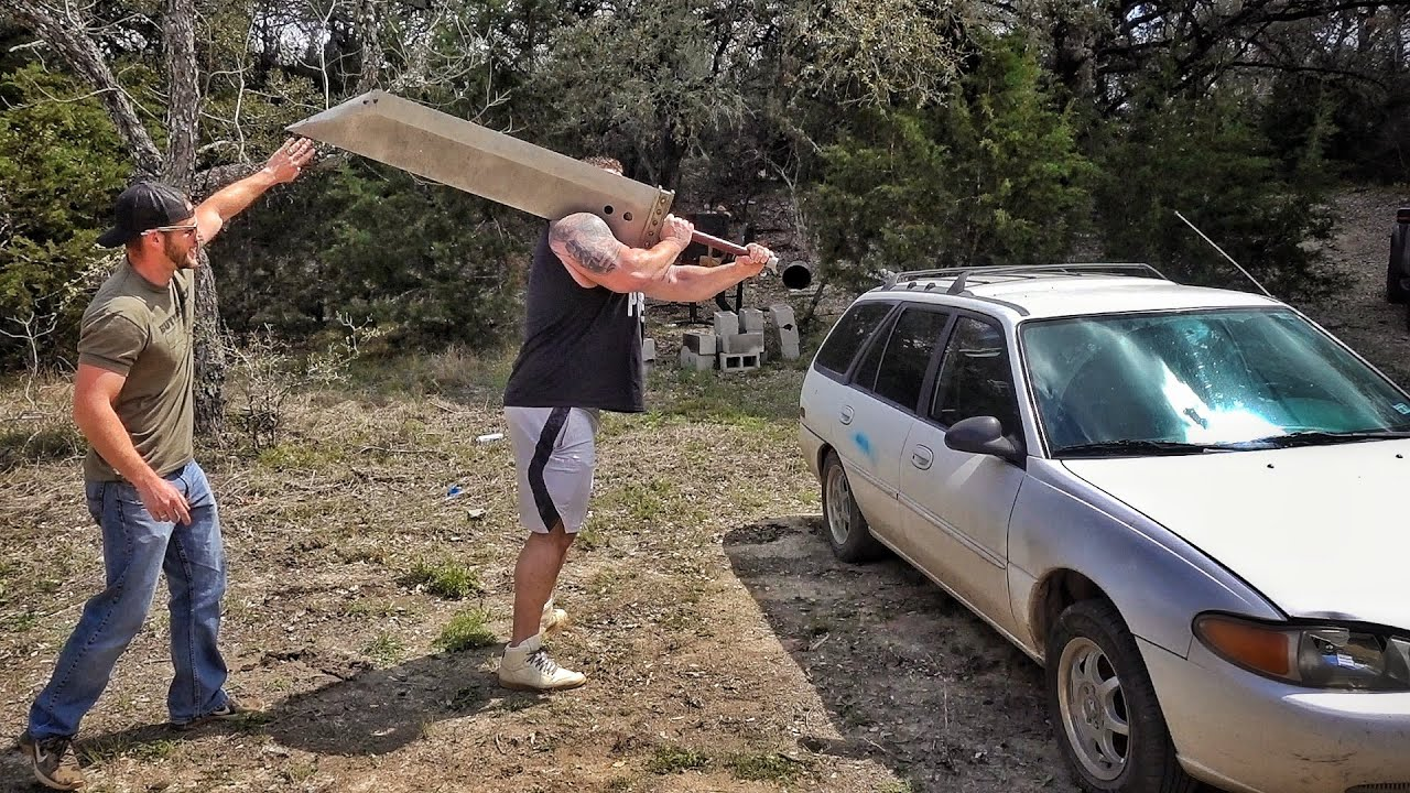 Giant Man with World's Biggest Sword vs Car