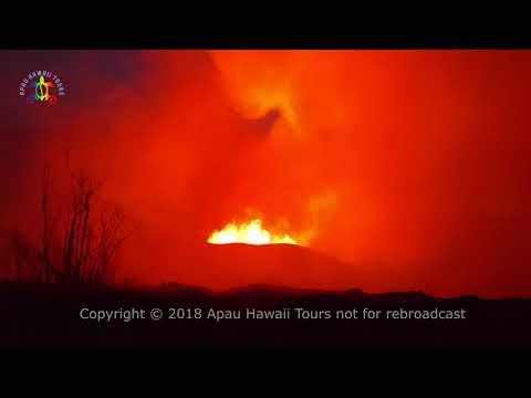 Leilani Estates fissure #8 and lava river overflow 5:12 AM, June 10, 2018