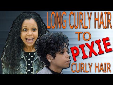Long curly hair to pixie curly hair / hair transformation