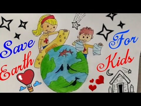 SAVE ENVIRONMENT Coloring Drawing For Kids || Stop Global Warming Drawing || Stop Pollution Drawing|