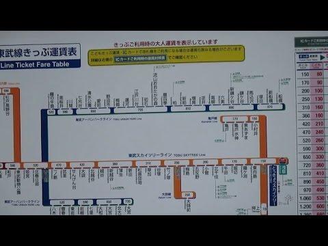 Train tariff Tobu Sky Tree line, Asakusa Station