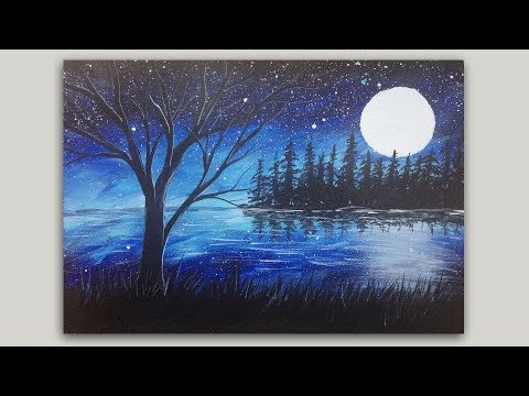 Moon and Trees Silhouette Painting in Acrylics  - Easy Acrylic Painting Demo by StudioSilverCreek