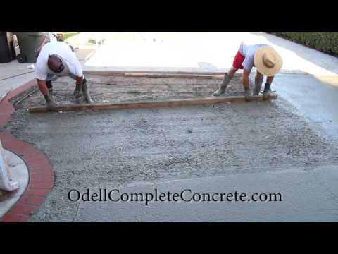 How to pour a Concrete Patio with a Brick Ribbon pattern