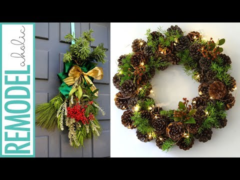 Easy Fresh Evergreen Christmas Swag & 1-Hour Pine Cone Wreath