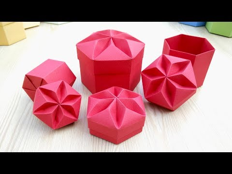 Gift box REALLY  EASY! Origami Hexagonal Box  -  Ideas for Easter gifts