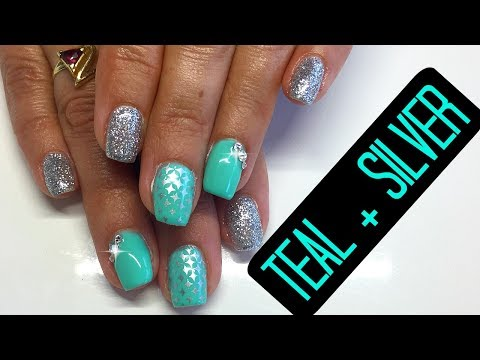 How To Gel Nails Tutorial | Gel Nail Fill Teal and Silver with Stamping and Crystals