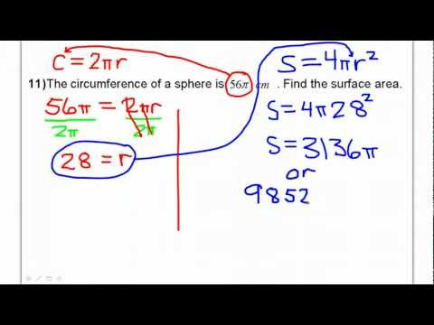 Day 06 - Test D #11 - Sphere: Circumference and Surface Area