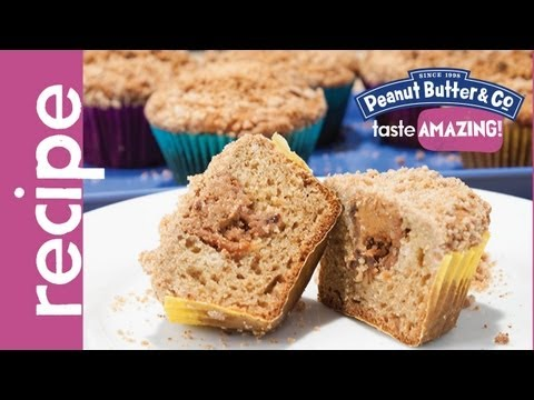 Peanut Butter Stuffed Applesauce Muffins with Cinnamon Struesel recipe