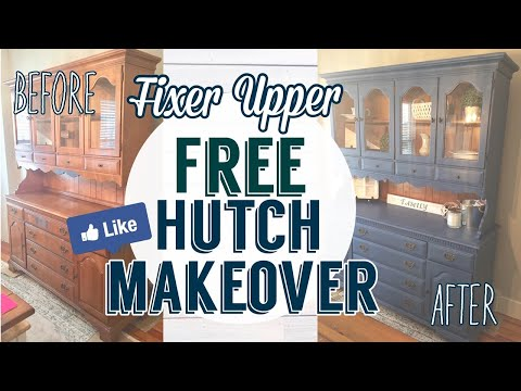 Fixer Upper Inspired Free Hutch Makeover| Painted Furniture DIY