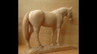 "Wood carving sculpture ""Arabian horse"""