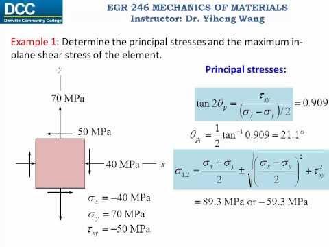 Mechanics of Materials Lecture 19: Principal stresses and maximum in-plane shear stress