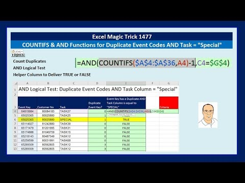 Excel Magic Trick 1477: COUNTIFS & AND Functions for Duplicate Event Codes AND Task =