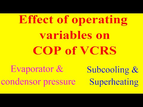 Effect of variables on coefficient of performance (COP) of a vapour compression refrigeration system