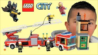 Fire Truck Lego City Set Opening Fun With Iron Man And Batman Ckn Toys