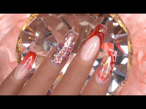 Red Glitter Acrylic Nails | Design change on Silicone Practice Hand | LongHairPrettyNails
