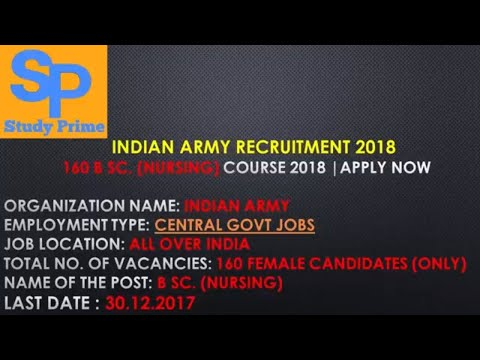 Indian Army Recruitment 2018 –  160 B Sc. (Nursing) Course 2018 |  Apply Now